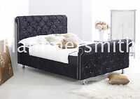 Double Crushed Velvet Fabric Chesterfield Sleigh Bed Frame Silver, Grey, Mink