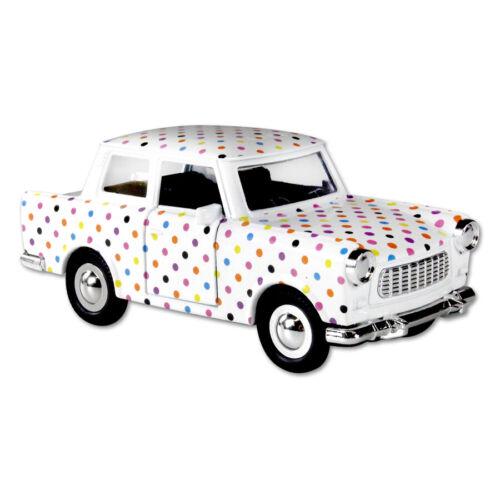 Trabi Trabant Limousine mit Punkten,Modellauto DDR Metall 12 cm,NEU !