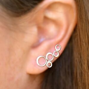 Simple-Minimalist-Sterling-Silver-925-Bubbles-Circles-Ear-Climbers-Earrings