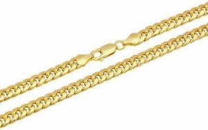 10k Oro Amarillo 4mm Collar Cadena de eslabón cubano de Miami para hombres Para mujeres tamaño 22 pulgadas