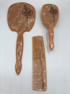 Vtg-DUPONT-USA-Celluloid-PEACH-Pink-3-Piece-Vanity-Set-Beveled-Mirror-Brush-Comb