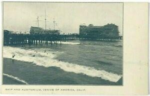 Ship Auditorium Pier Venice California CA Walt M. Reeves Mission Artist Postcard