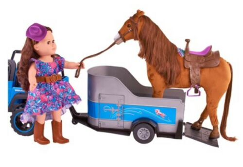 """18"""" Doll towable HORSE TRAILER fits My Life as American Girl Boy R//C Jeep Truck"""