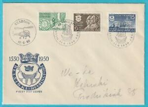 HonnêTeté La Finlande De 1950 Minr. 388-390 1. Hélicoptère Postflug 11.6.1950 Spécial Enveloppe-afficher Le Titre D'origine Design Professionnel