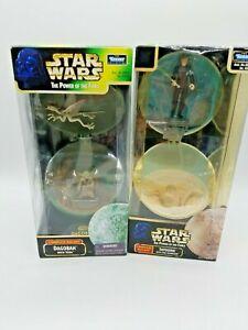 Lot-2-star-wars-pouvoir-de-la-force-complet-Galaxy-TATOOINE-LUKE-SKYWALKER-amp-YODA-DAGOBAH