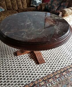 Couchtisch tisch rund marmor massivholz mit stein antik for Tisch rund marmor