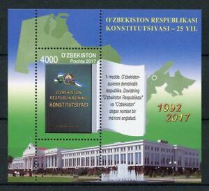 Uzbekistan-2017-MNH-Constitution-25th-Anniv-1v-M-S-Independence-Stamps