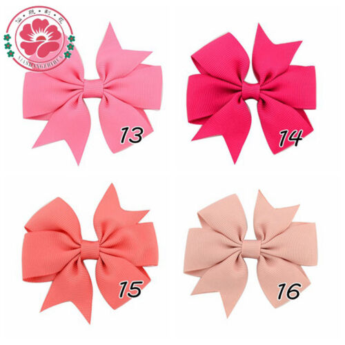 20pcs//set Hair Bows With Clip 3 inch Grosgrain Ribbon Hairpins  For Kids Girl C8