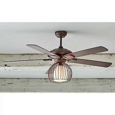 Metal Cage Ceiling Fan Light Farmhouse Style Black Brown Brand New In Box Ebay