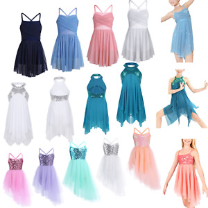 Girls-Lyrical-Ballet-Dress-Leotard-Costume-Latin-Ballroom-Tulle-Skirt-Dancewear