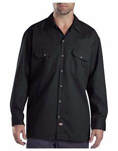 Dickies-Mens-Black-Long-Sleeve-Work-Shirt-Uniform-Button-Up-Casual-Shirt-574