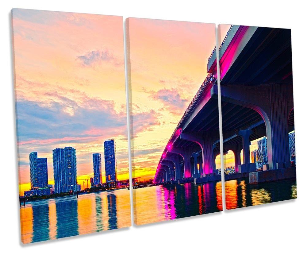 Miami FLORIDA PONTE SUNSET incorniciato Treble stampa art. a muro
