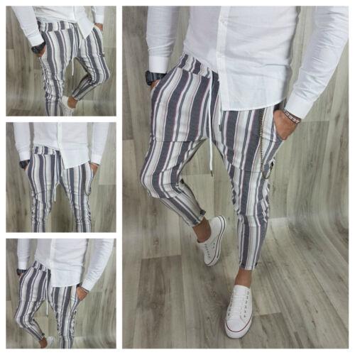 Pantalone Uomo Fasce Capri Catena Cotone Elastico Slim Corto s,m,l,xl,xxl