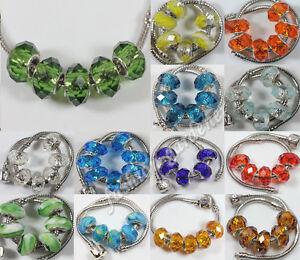 10Pcs Glass Spacer Murano Big Hole Lampwork Beads Fit European Charm Bracelet
