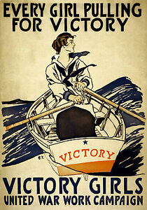 MAGNET Vintage Wartime Poster Magnets VICTORY GIRLS Boat Rowing Oars Ships Free