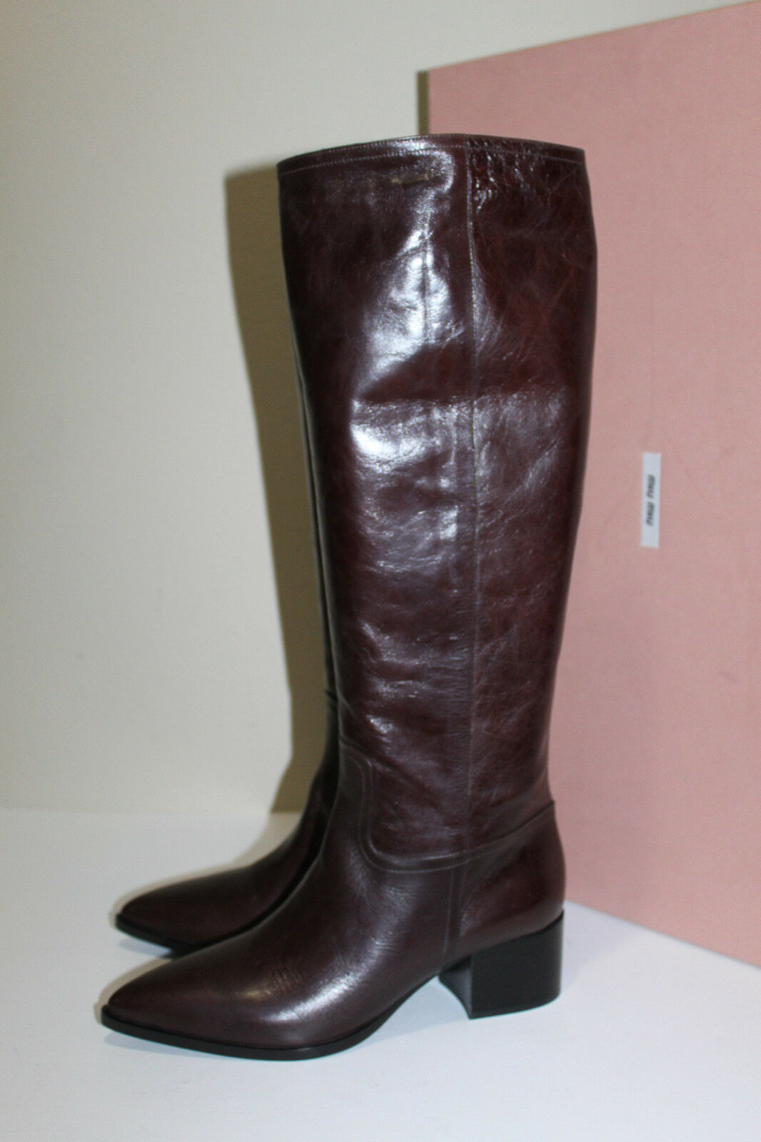 8.5 38.5 Miu Miu   Prada Pointed Toe braun Leather Knee High Flat Stiefel schuhe