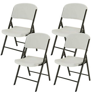 lifetime light commercial contemporary plastic folding chair almond