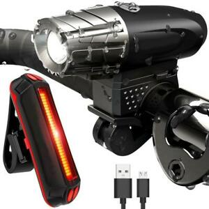 4-modos-LED-Frontal-Bicicleta-Lampara-Linterna-Faro-Luz-de-cola-Recargable-Kit