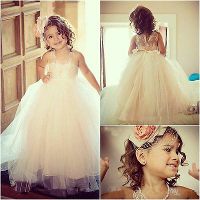 Princess Formal Lace Baby Bridesmaid Flower Girl Dresses Wedding Party Dresses