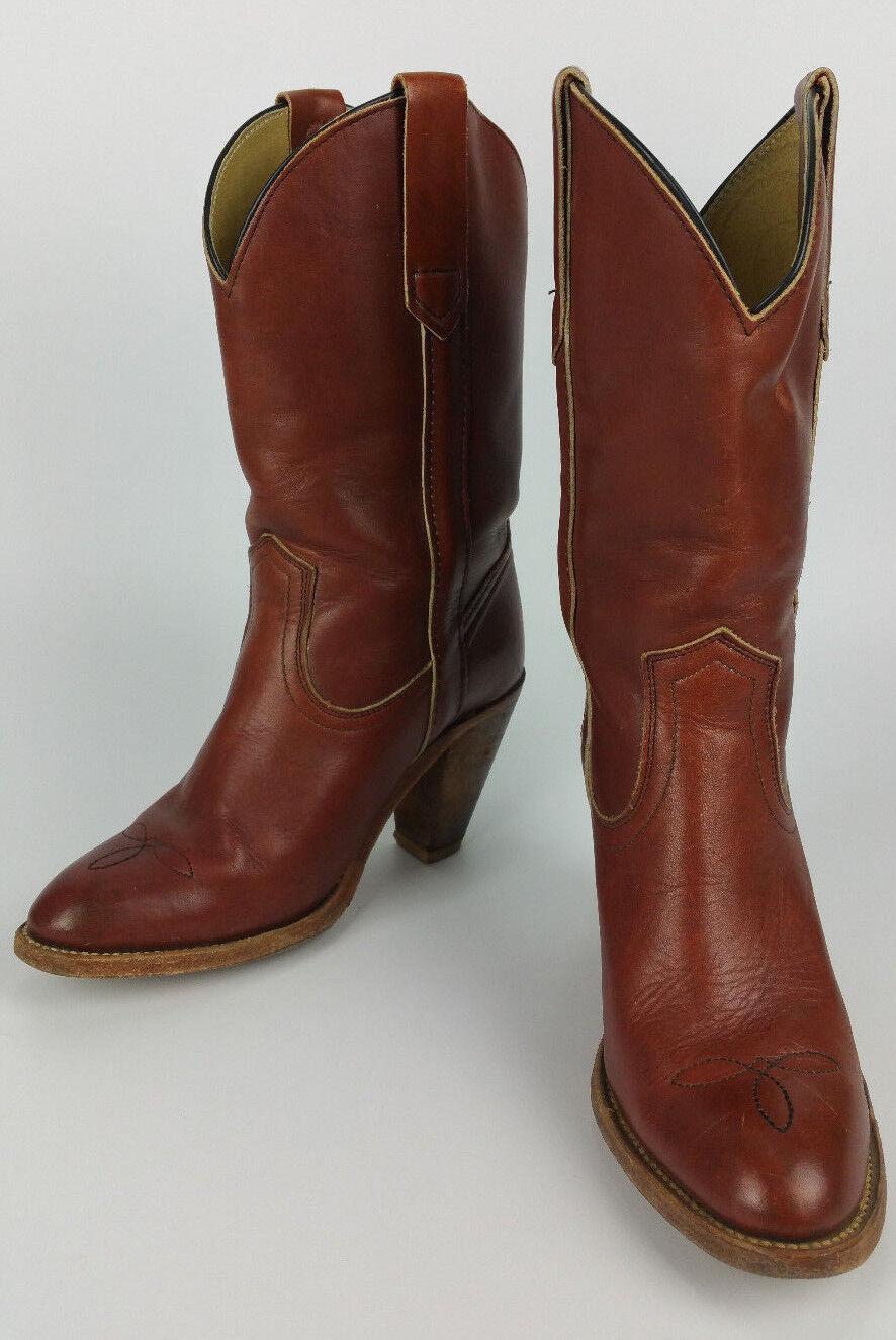 De Colección Frye Marrón Marrón Marrón Cognac Western Cowboy botas Tacones para mujer 6 B Hecho en EE. UU.  7893  descuento de bajo precio