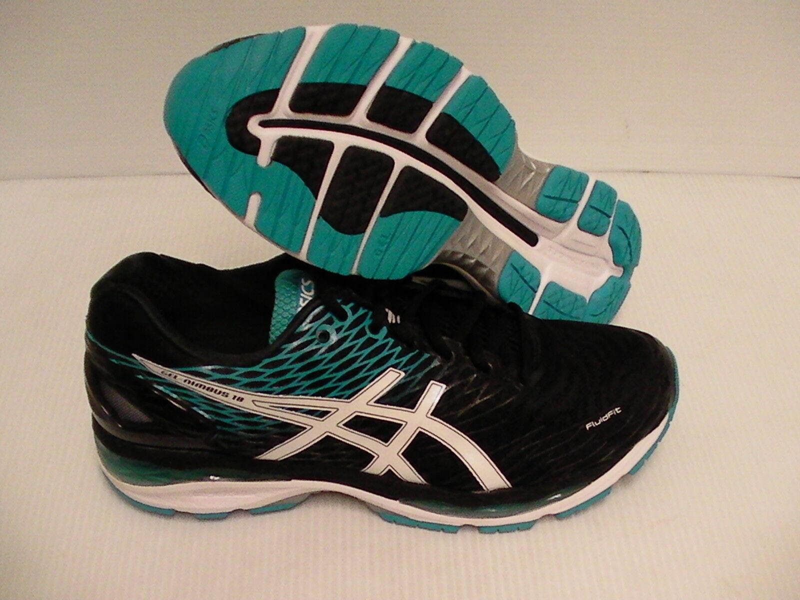 Asics gel nimbus 18 running shoes black white island blue size 15 men us new