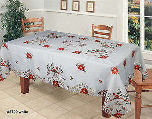 Image Is Loading Holiday Christmas Tree Red Poinsettia Snowy Cabin  Tablecloth