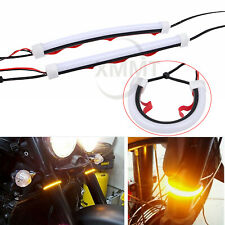 39-70 mm 4 Pieces Motorcycle Fork Light Strips Flexible LED Fork Turn Signal Blinkers Adjustable White and Amber Running Lights for Motorcycle