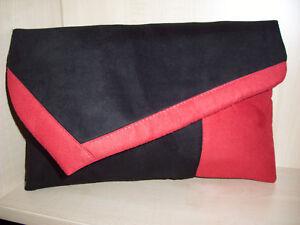 a mano amore con pelle in Derbyshire oversize Pochette nera scamosciata rossa e in Fatto F8cxPqz