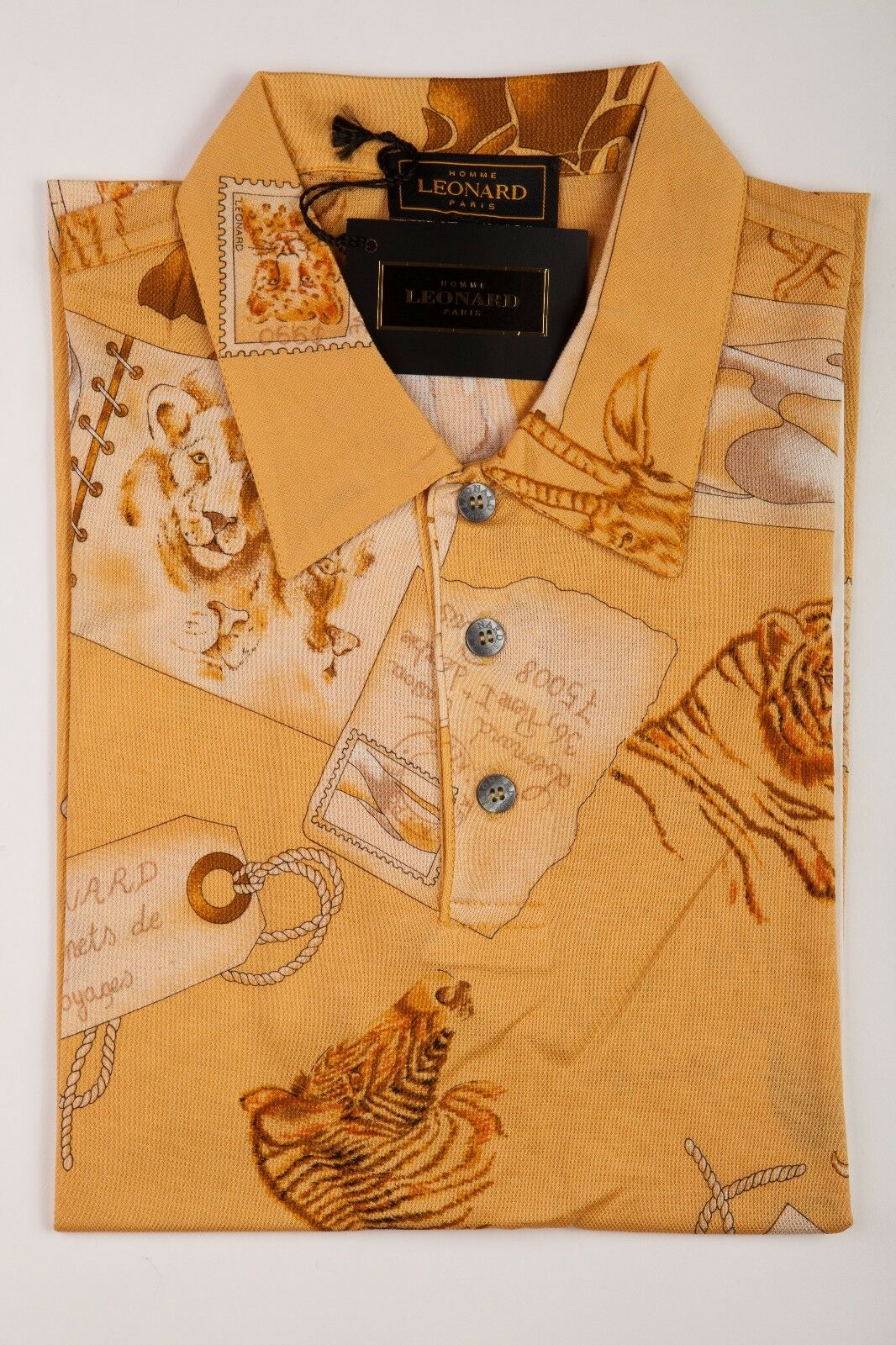 NEW 360  Luxury LEONARD PARIS Polo Shirt Cotton Men Size S  SAFARI   2