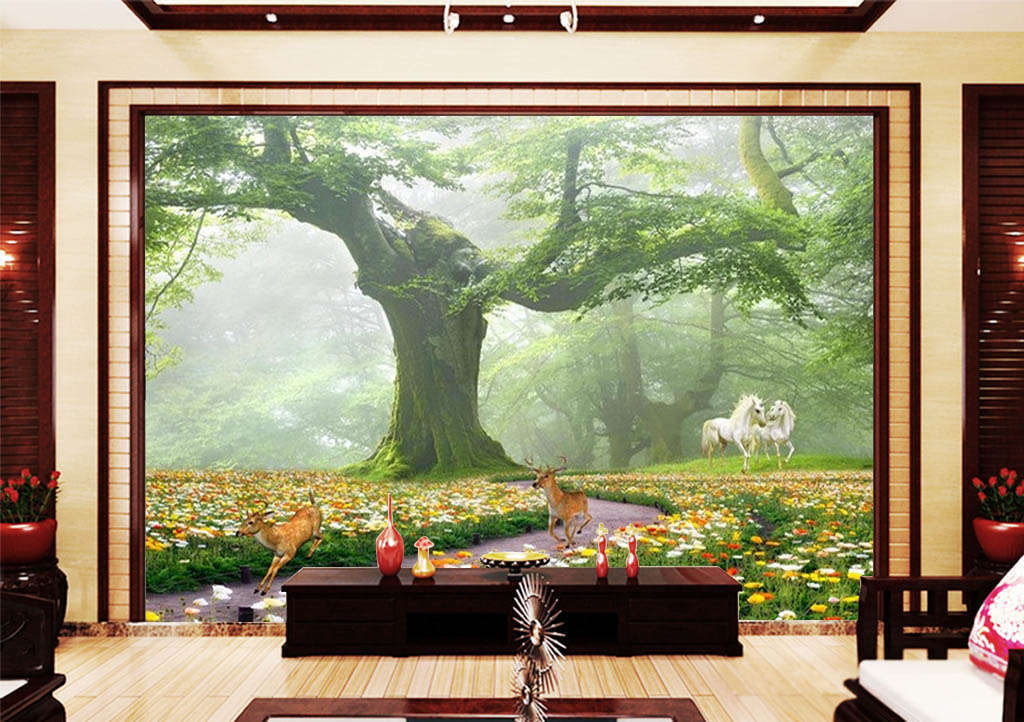 Great Trees And Animals 3D Full Wall Mural Photo Wallpaper Print Home Kids Decor