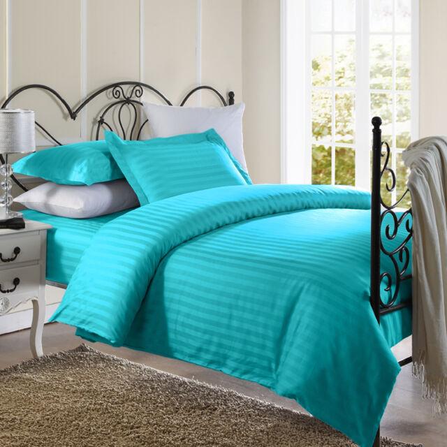 1800 Series Damask Stripe Duvet Cover 3PC Set With Pillow Shams