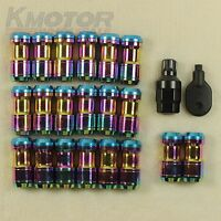 Neo Chrome Extended Dust Cap Steel Lug Nuts Wheel Rims Tuner With Lock