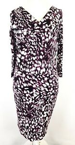 Hugo-Boss-Geometric-Abstract-Print-Mock-Wrap-Stretch-Jersey-Dress-Size-XL