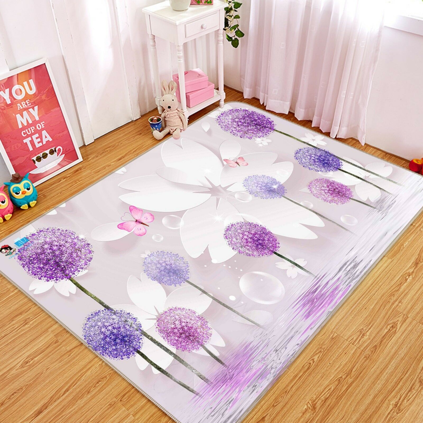 3D Flowers viola 021 Non Slip Rug Mat Quality Elegant Photo Carpet US Cobb