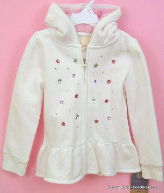Girls White/Pink Hoodie Sz 5 Peplum Ruffle Hooded Sweatshirt Zip Front NWT