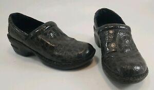 BOC BORN CONCEPT Gray Faux Croc Shiny Mules Clogs Womens Shoes Size 7.5