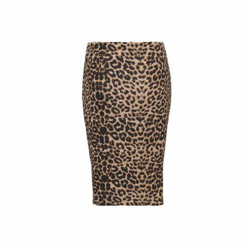 ANIMAL LEOPARD PRINT HIGH WAIST MIDI LENGTH STRETCH BODYCON PENCIL SKIRT 8 20