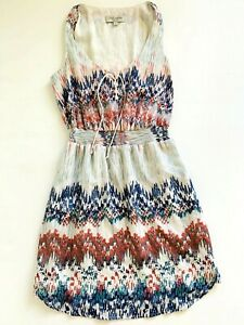 Women-039-s-JUST-JEANS-Geo-Print-Banded-Waist-Tie-Front-A-Line-Short-Dress-S8-EUC