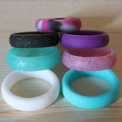 TRAININGEAR Silicone Wedding Band Ring Women Black Blue Safe Flexible Rings Lot