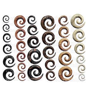 1 X en Bois Oreille Spirale Prise Organique Stretching Lobe Ebène Saba Crocodile THU2SIqn-09102523-970780105