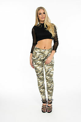 Women's Celeb Inspired Army Military Green Camouflage Skinny Slim Stretch Jeans