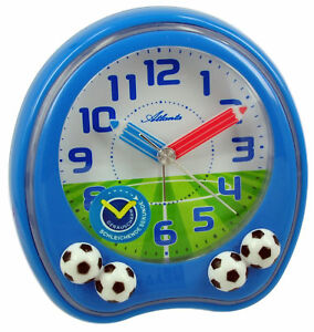 Atlanta-Fussball-Kinderwecker-Blau-Geraeuscharm-1719-5-Quartz-Analog-Wecker