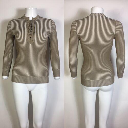 Rare Vtg Gucci Beige Knit Lace Up Top M - image 1