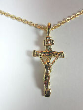 """Gold Plated Small Crucifix Cross 1"""" Pendant Necklace 20"""" Chain"""
