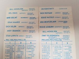 Details About 1950 Philadelphia Phillies Strat O Matic Baseball Team 14 Og Player Cards
