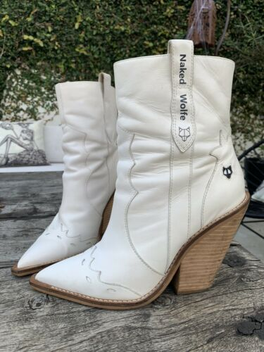 Women Cowboy Boots 10 White leather