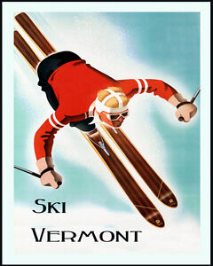 Vermont Ski Winter Sport Jumping Mountain  Vintage Poster Repro FREE S//H