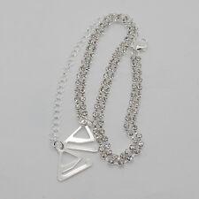 1 Set 2Row Adjustable Clear Crystal Rhinestone Silver White Metal Bra Straps LI