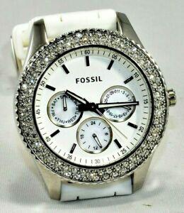 NWT-FOSSIL-Stella-3-Dial-Watch-Crystal-Bezel-5-ATM-Rubber-white-Band-New-Battery