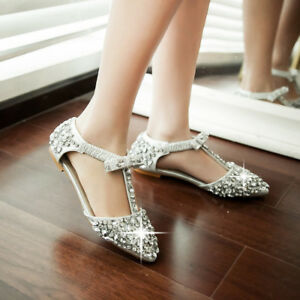 Women-Sequin-Rhinestone-Shoes-T-Strap-Crystal-Beaded-Sandals-Flats-Pointy-Toe